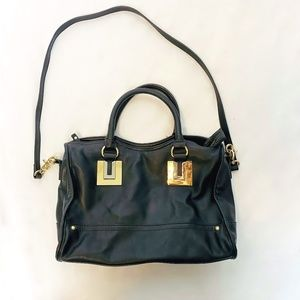 French Connection Arden Black Satchel Bag